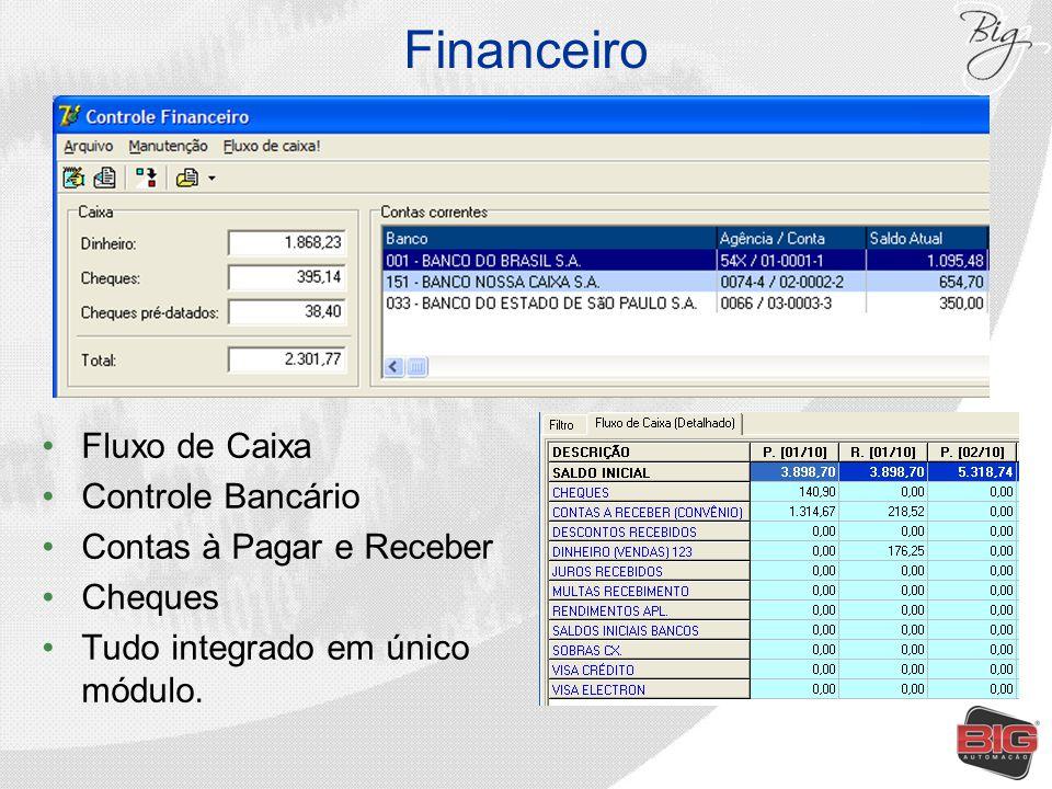 Financeiro Fluxo de Caixa Controle Bancário Contas à Pagar e Receber Cheques Tudo integrado em único módulo.
