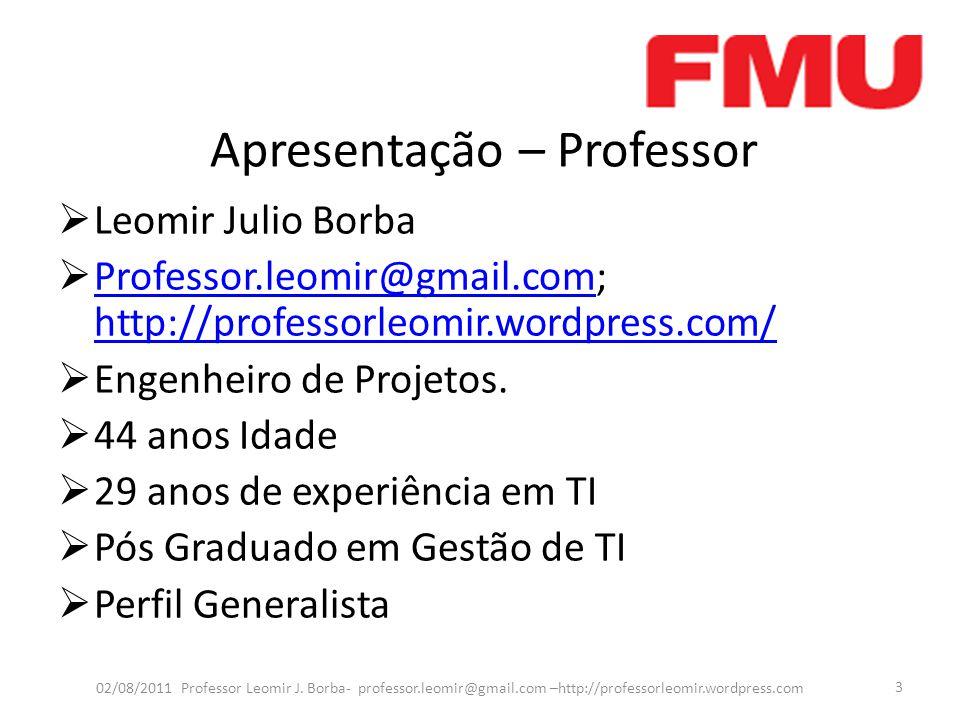 Apresentação – Professor Leomir Julio Borba Professor.leomir@gmail.com; http://professorleomir.wordpress.com/ Professor.leomir@gmail.com http://profes