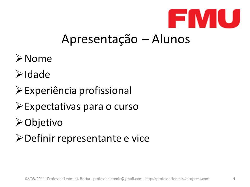 Apresentação – Alunos Nome Idade Experiência profissional Expectativas para o curso Objetivo Definir representante e vice 02/08/2011 Professor Leomir J.
