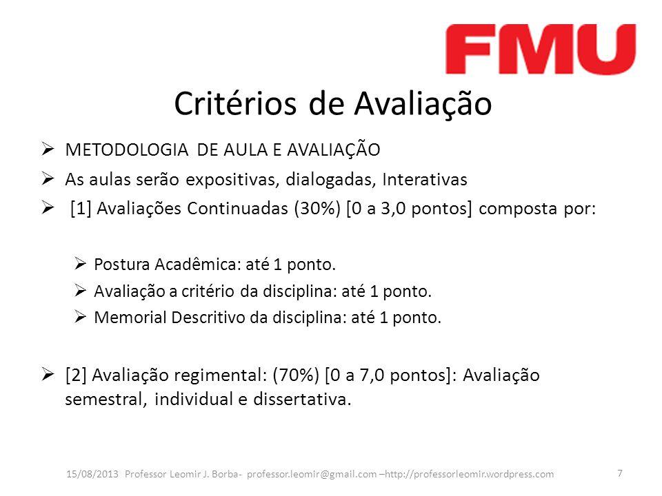Critérios de Avaliação METODOLOGIA DE AULA E AVALIAÇÃO As aulas serão expositivas, dialogadas, Interativas [1] Avaliações Continuadas (30%) [0 a 3,0 pontos] composta por: Postura Acadêmica: até 1 ponto.