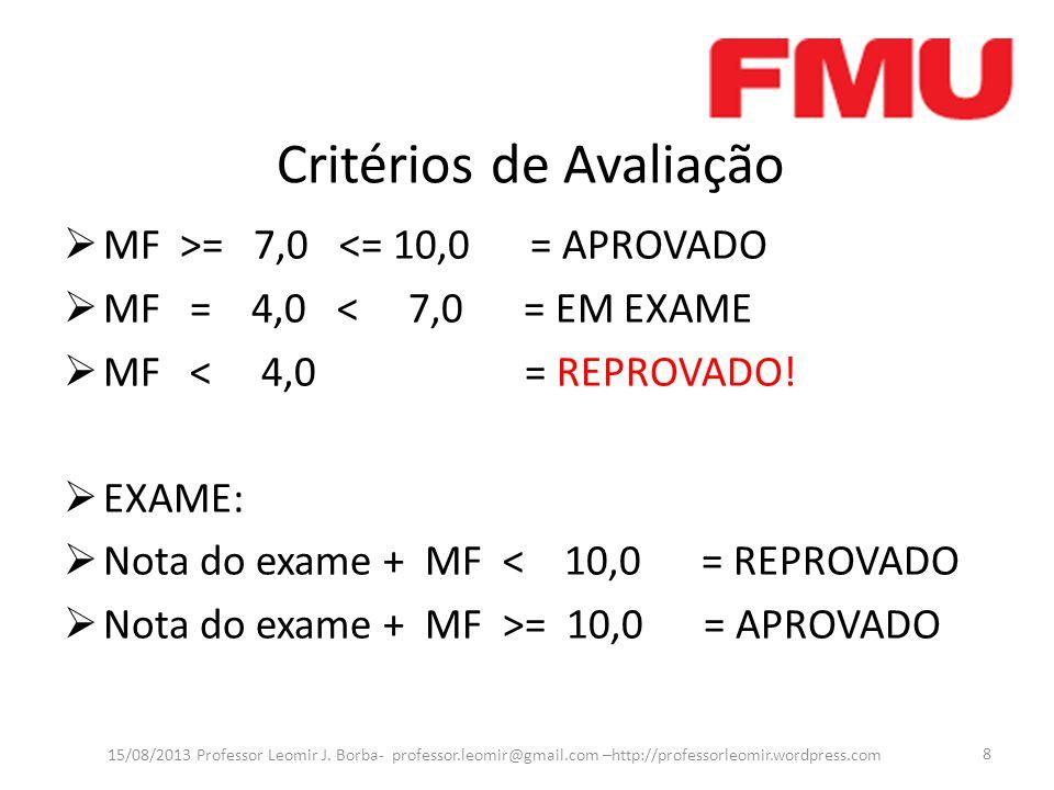Critérios de Avaliação MF >= 7,0 <= 10,0 = APROVADO MF = 4,0 < 7,0 = EM EXAME MF < 4,0 = REPROVADO! EXAME: Nota do exame + MF < 10,0 = REPROVADO Nota