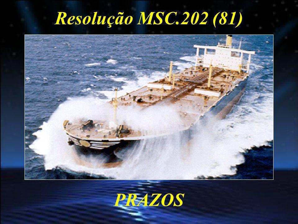 Resolução MSC.202 (81) PRAZOS Os prazos para o cumprimento dos requisitos LRIT foram estabelecidos em função da área marítima de operação (A1, A2, A3 ou A4), de acordo com o CAP IV da SOLAS