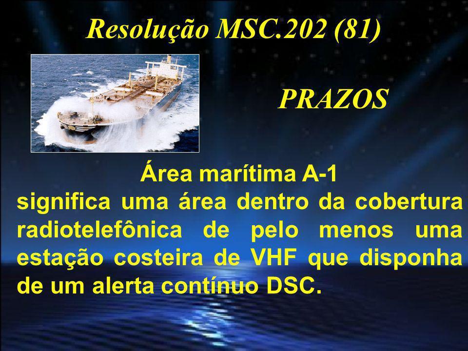 Resolução MSC.202 (81) PRAZOS Área marítima A-2 significa uma área, excluindo a área marítima A-1, dentro da cobertura radiotelefônica de pelo menos uma estação costeira de MF que disponha de um alerta contínuo DSC.