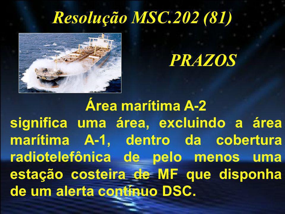 Resolução MSC.202 (81) PRAZOS Área marítima A-3 significa uma área, excluindo as áreas marítimas A-1 e A-2, dentro da cobertura de um satélite geoestacionário INMARSAT, que disponha de um alerta contínuo.