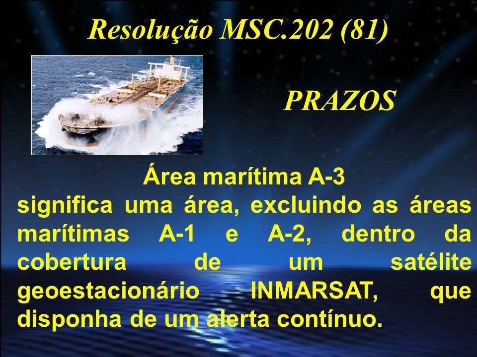 Resolução MSC.202 (81) PRAZOS Área marítima A-4 significa uma área fora das áreas A-1, A-2 e A-3.