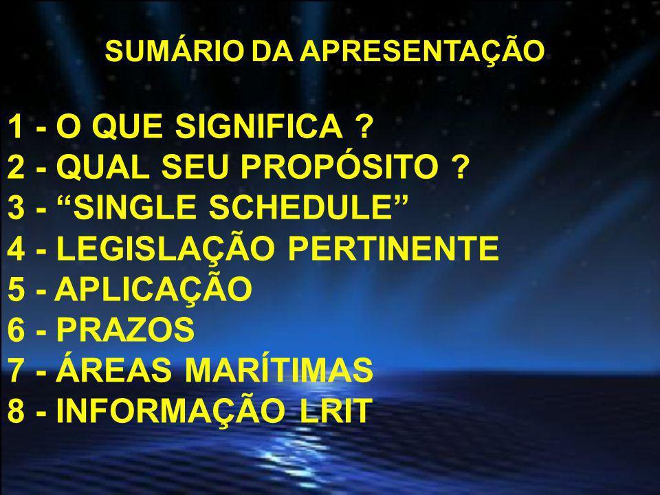 SUMÁRIO DA APRESENTAÇÃO 9 - DEFINIÇÕES TÉCNICAS 10 - EQUIPAMENTOS 11 - ARQUITETURA DO SISTEMA 12 - CONFIGURAÇÃO LRIT NO BRASIL 13 - TESTE DE CONFORMIDADE 14 - PRAZOS DESSES TESTES 15 - CERTIFICAÇÃO DAS EMBARCAÇÕES 16 - TRANSFERÊNCIA DE BANDEIRA 17 - MODU