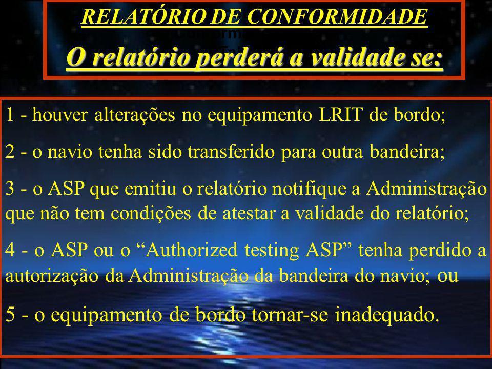 TESTE DE CONFORMIDADE Appendix 1 da MSC.1/Circ.
