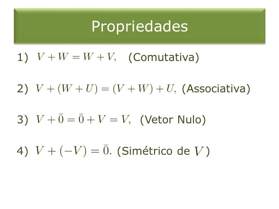 Propriedades 1) (Comutativa) 2) (Associativa) 3) (Vetor Nulo) 4) (Simétrico de )