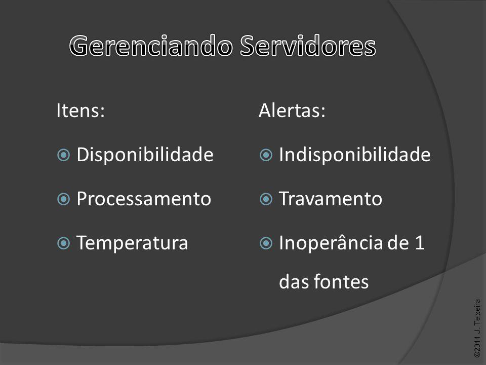 Alertas: Indisponibilidade Travamento Inoperância de 1 das fontes ©2011 J. Teixeira