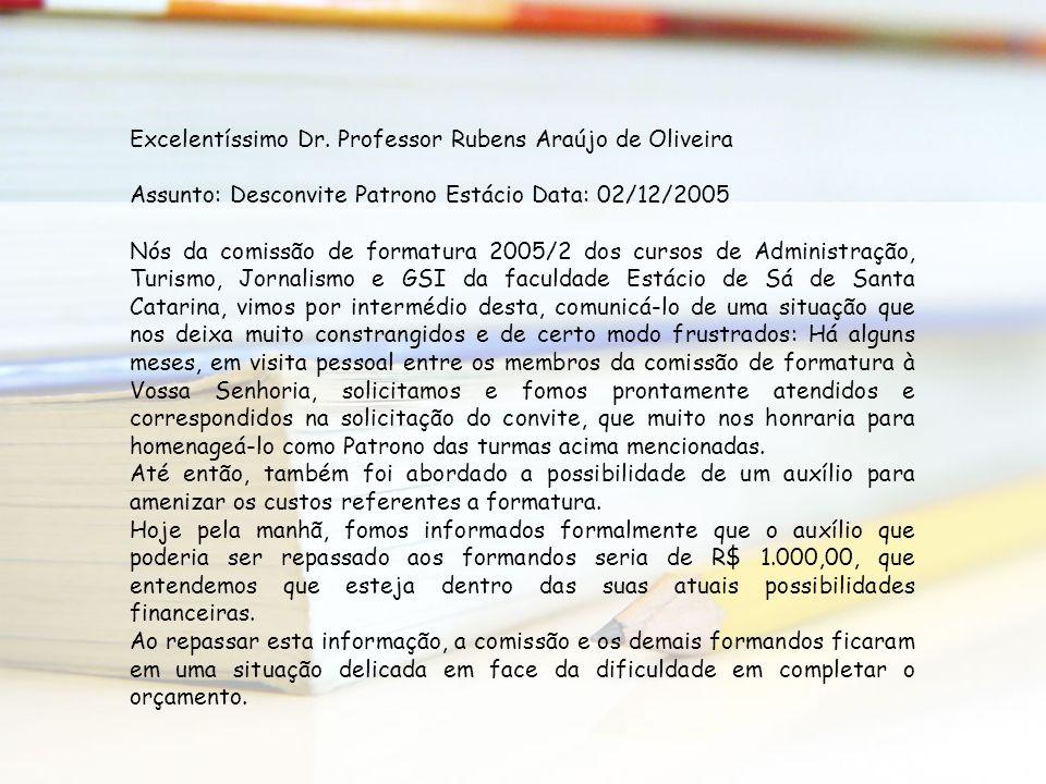 Excelentíssimo Dr. Professor Rubens Araújo de Oliveira Assunto: Desconvite Patrono Estácio Data: 02/12/2005 Nós da comissão de formatura 2005/2 dos cu