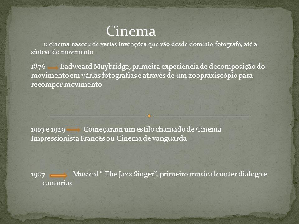 Cinema O cinema nasceu de varias invenções que vão desde domínio fotografo, até a síntese do movimento 1876 Eadweard Muybridge, primeira experiência d