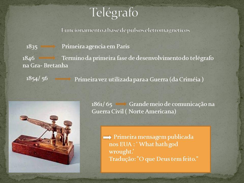 1835 Primeira agencia em Paris 1846 Termino da primeira fase de desenvolvimento do telégrafo na Gra- Bretanha 1854/ 56 Primeira vez utilizada para a Guerra (da Criméia ) 1861/ 65 Grande meio de comunicação na Guerra Civil ( Norte Americana) Primeira mensagem publicada nos EUA : What hath god wrought.