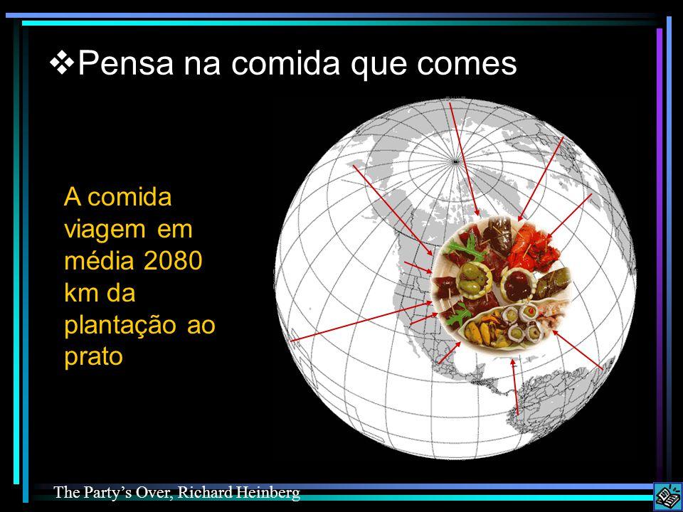 Food travels an average of 2080 km from farm to plate Pensa na comida que comes A comida viagem em média 2080 km da plantação ao prato The Partys Over, Richard Heinberg