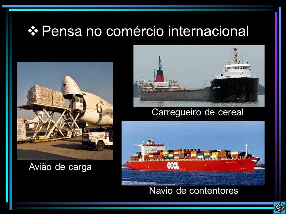 Pensa no comércio internacional Avião de carga Navio de contentores Carregueiro de cereal