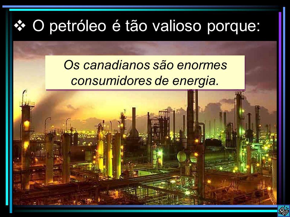 Os canadianos são enormes consumidores de energia. O petróleo é tão valioso porque: