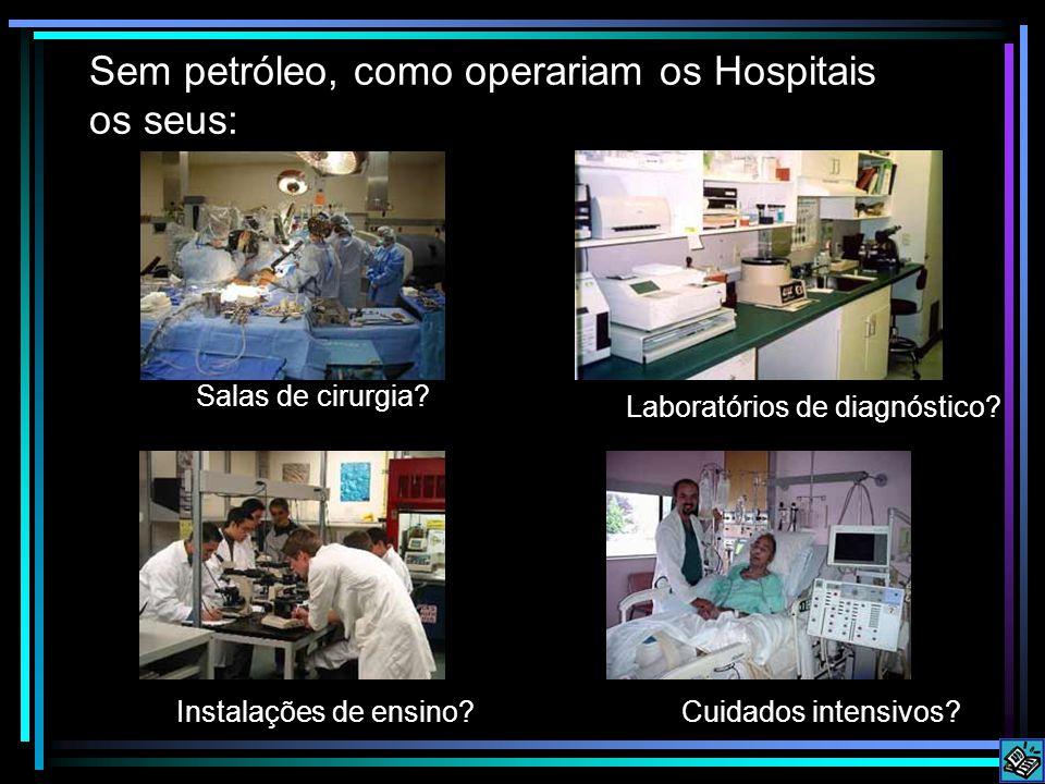 Sem petróleo, como operariam os Hospitais os seus: Salas de cirurgia? Instalações de ensino? Laboratórios de diagnóstico? Cuidados intensivos?
