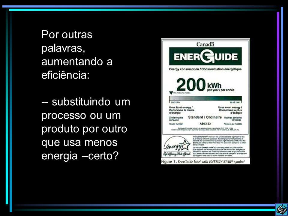Por outras palavras, aumentando a eficiência: -- substituindo um processo ou um produto por outro que usa menos energia –certo?