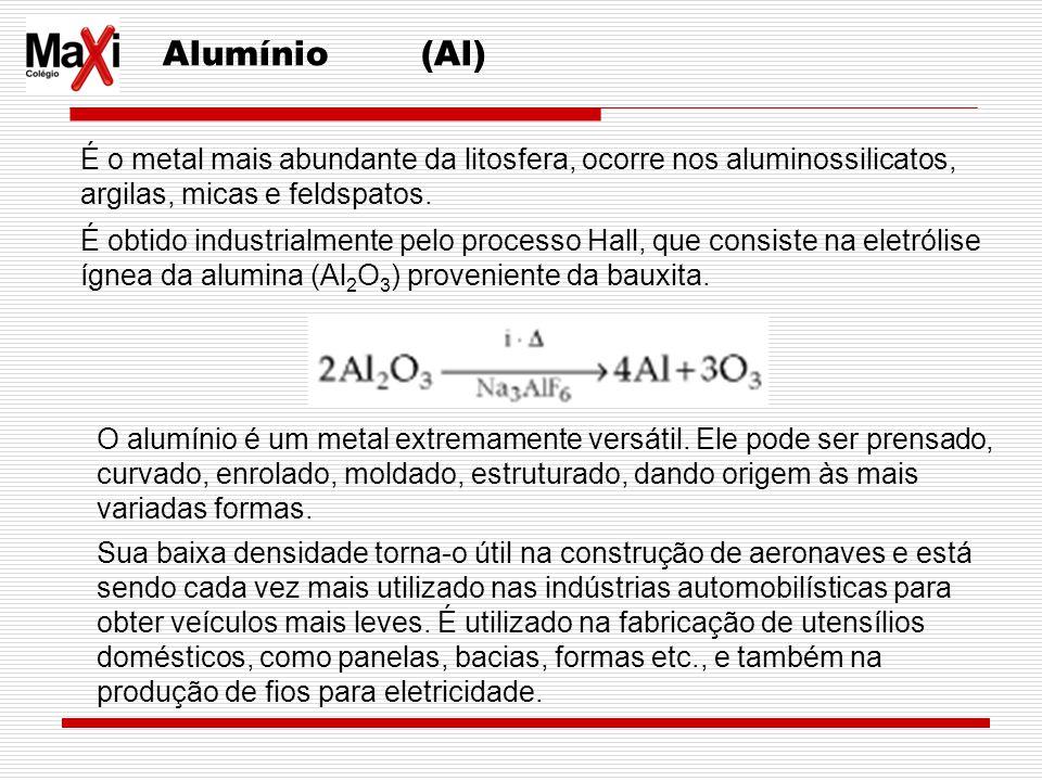 Alumínio (Al) É o metal mais abundante da litosfera, ocorre nos aluminossilicatos, argilas, micas e feldspatos. É obtido industrialmente pelo processo
