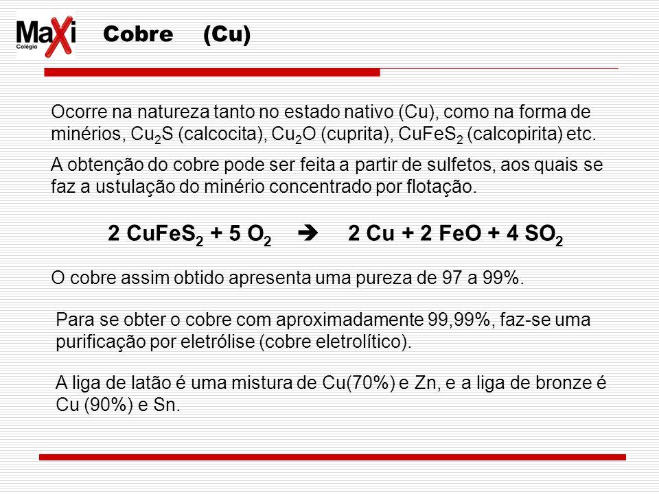 Cobre (Cu) Ocorre na natureza tanto no estado nativo (Cu), como na forma de minérios, Cu 2 S (calcocita), Cu 2 O (cuprita), CuFeS 2 (calcopirita) etc.