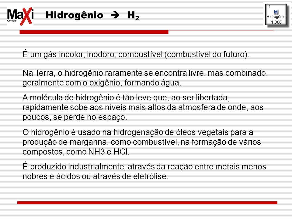 Hidrogênio H 2 É um gás incolor, inodoro, combustível (combustível do futuro). Na Terra, o hidrogênio raramente se encontra livre, mas combinado, gera