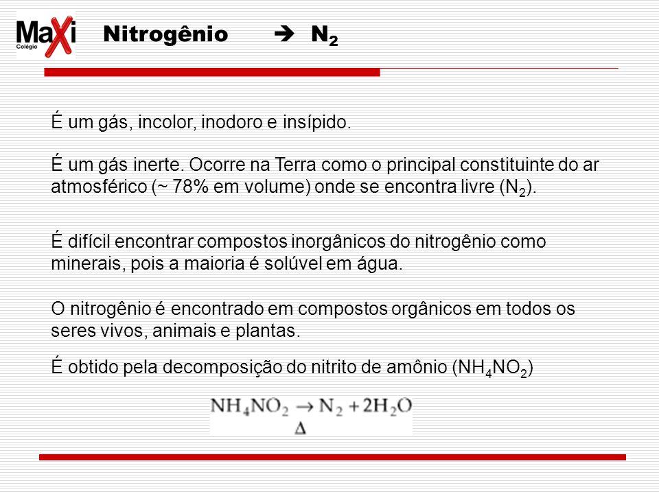 Nitrogênio N 2 É um gás, incolor, inodoro e insípido. É um gás inerte. Ocorre na Terra como o principal constituinte do ar atmosférico (~ 78% em volum