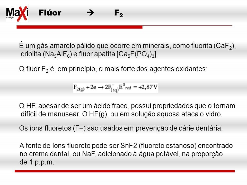 Flúor F 2 É um gás amarelo pálido que ocorre em minerais, como fluorita (CaF 2 ), criolita (Na 3 AlF 6 ) e fluor apatita [Ca 5 F(PO 4 ) 3 ]. O fluor F