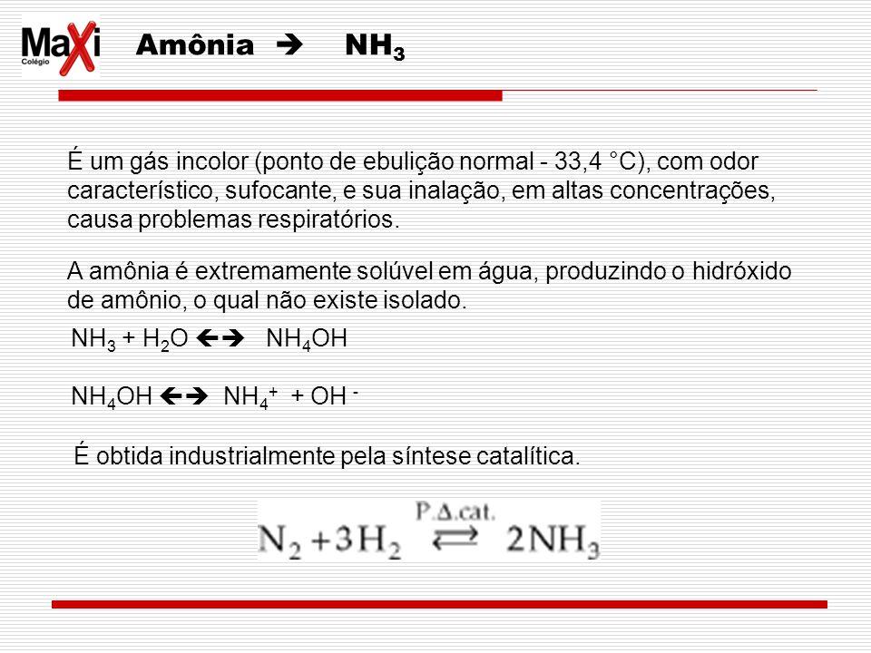 Amônia NH 3 É um gás incolor (ponto de ebulição normal - 33,4 °C), com odor característico, sufocante, e sua inalação, em altas concentrações, causa p