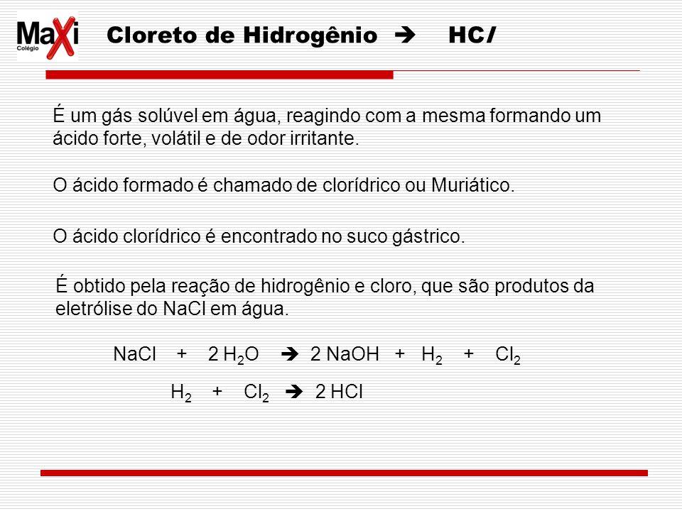Cloreto de Hidrogênio HCl É um gás solúvel em água, reagindo com a mesma formando um ácido forte, volátil e de odor irritante. O ácido formado é chama