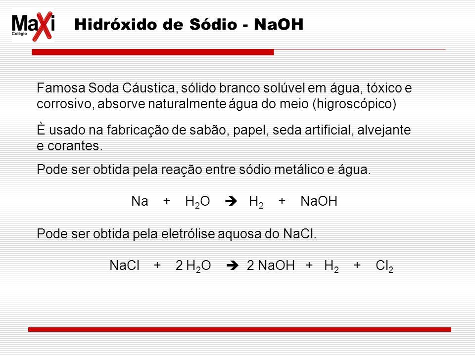 Hidróxido de Sódio - NaOH Famosa Soda Cáustica, sólido branco solúvel em água, tóxico e corrosivo, absorve naturalmente água do meio (higroscópico) È