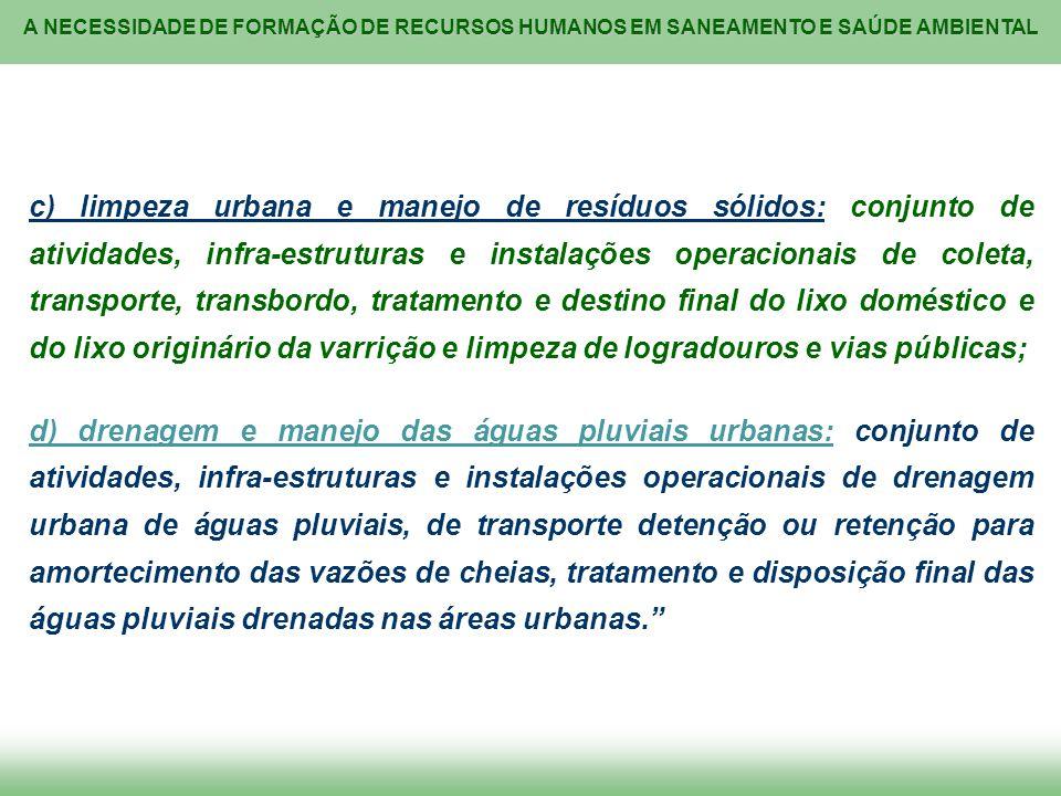 A NECESSIDADE DE FORMAÇÃO DE RECURSOS HUMANOS EM SANEAMENTO E SAÚDE AMBIENTAL c) limpeza urbana e manejo de resíduos sólidos: conjunto de atividades,