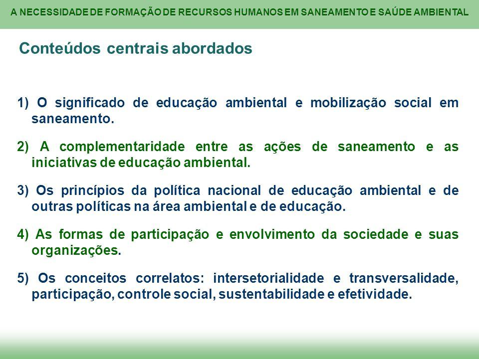 A NECESSIDADE DE FORMAÇÃO DE RECURSOS HUMANOS EM SANEAMENTO E SAÚDE AMBIENTAL Conteúdos centrais abordados 1) O significado de educação ambiental e mo