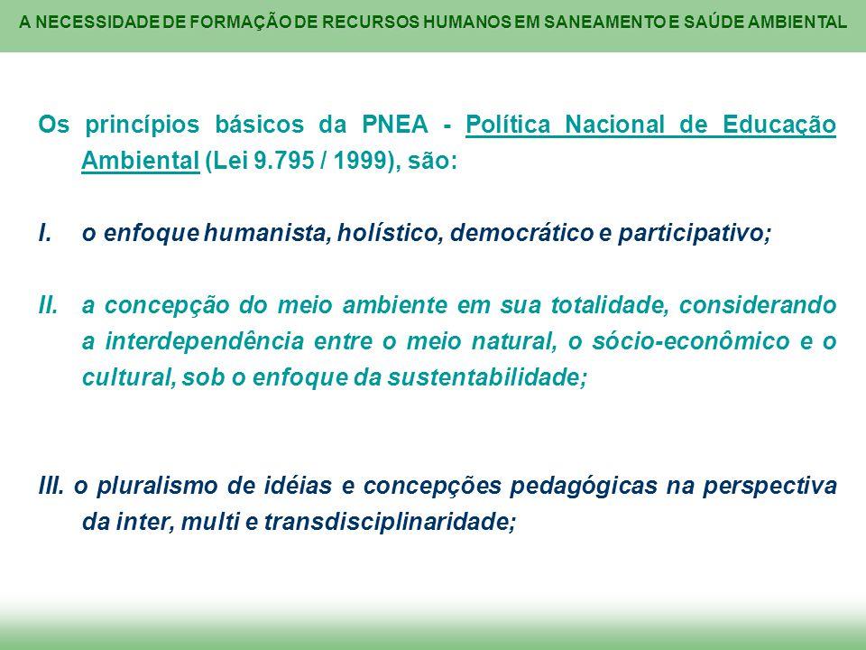 A NECESSIDADE DE FORMAÇÃO DE RECURSOS HUMANOS EM SANEAMENTO E SAÚDE AMBIENTAL Os princípios básicos da PNEA - Política Nacional de Educação Ambiental