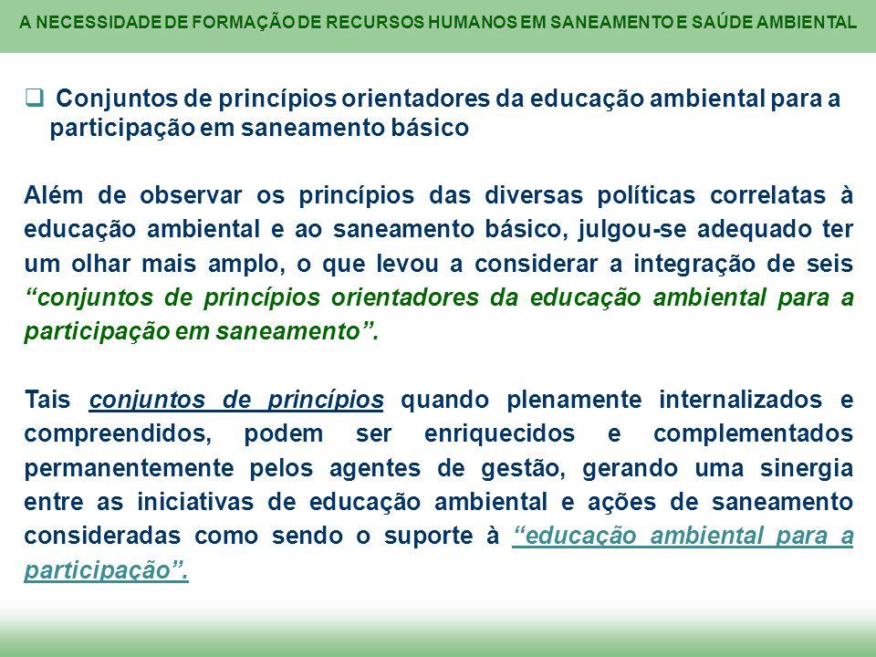 A NECESSIDADE DE FORMAÇÃO DE RECURSOS HUMANOS EM SANEAMENTO E SAÚDE AMBIENTAL Conjuntos de princípios orientadores da educação ambiental para a partic