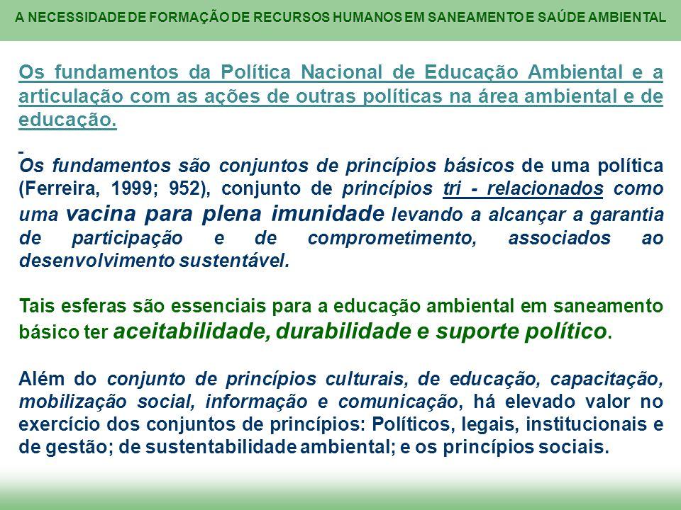 A NECESSIDADE DE FORMAÇÃO DE RECURSOS HUMANOS EM SANEAMENTO E SAÚDE AMBIENTAL Os fundamentos da Política Nacional de Educação Ambiental e a articulaçã