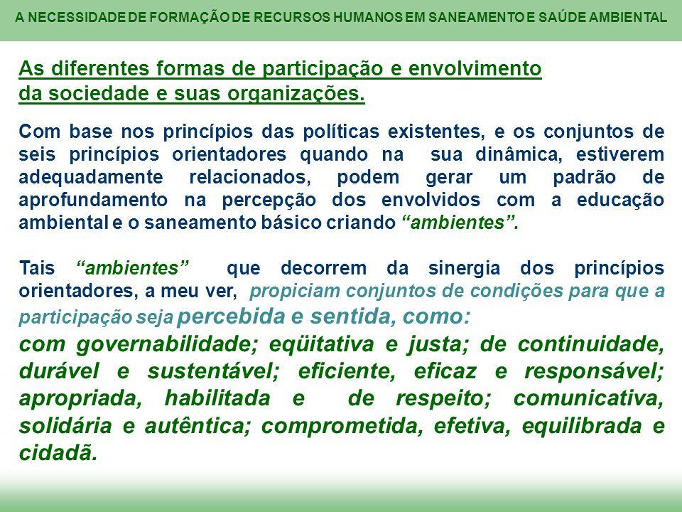 A NECESSIDADE DE FORMAÇÃO DE RECURSOS HUMANOS EM SANEAMENTO E SAÚDE AMBIENTAL As diferentes formas de participação e envolvimento da sociedade e suas