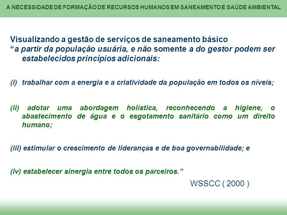 A NECESSIDADE DE FORMAÇÃO DE RECURSOS HUMANOS EM SANEAMENTO E SAÚDE AMBIENTAL Visualizando a gestão de serviços de saneamento básico a partir da popul