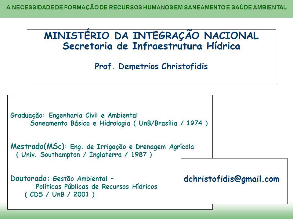 A NECESSIDADE DE FORMAÇÃO DE RECURSOS HUMANOS EM SANEAMENTO E SAÚDE AMBIENTAL MINISTÉRIO DA INTEGRAÇÃO NACIONAL Secretaria de Infraestrutura Hídrica P