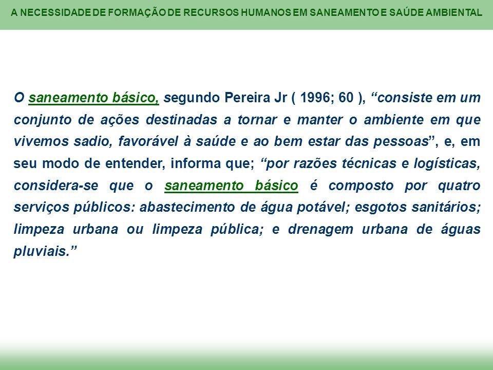 A NECESSIDADE DE FORMAÇÃO DE RECURSOS HUMANOS EM SANEAMENTO E SAÚDE AMBIENTAL O saneamento básico, segundo Pereira Jr ( 1996; 60 ), consiste em um con