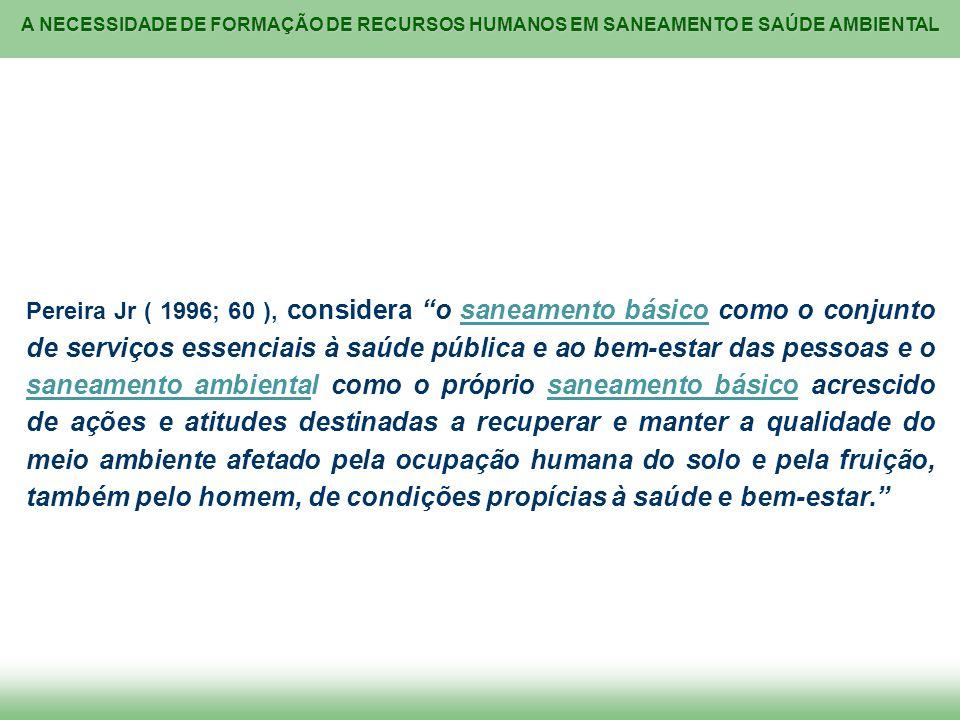 A NECESSIDADE DE FORMAÇÃO DE RECURSOS HUMANOS EM SANEAMENTO E SAÚDE AMBIENTAL Pereira Jr ( 1996; 60 ), considera o saneamento básico como o conjunto d