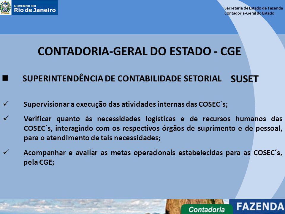 Secretaria de Estado de Fazenda Contadoria-Geral do Estado CONTADORIA-GERAL DO ESTADO - CGE SUPERINTENDÊNCIA DE CONTABILIDADE SETORIAL SUSET Verificar