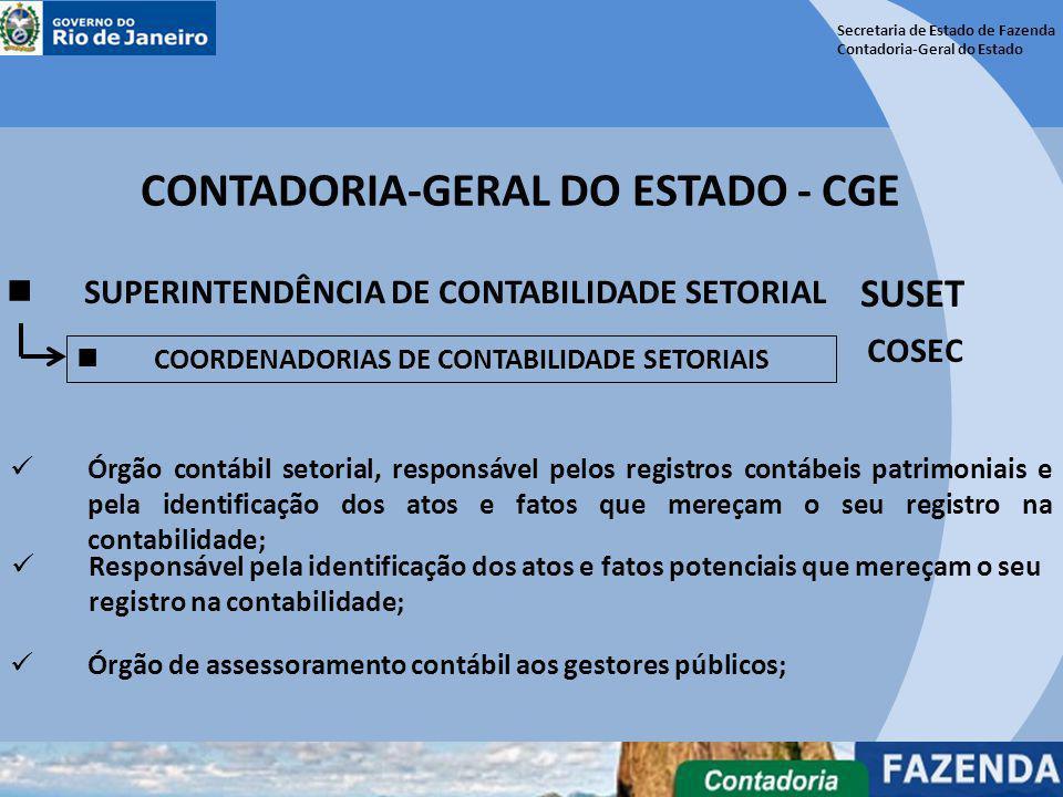 Secretaria de Estado de Fazenda Contadoria-Geral do Estado CONTADORIA-GERAL DO ESTADO - CGE SUPERINTENDÊNCIA DE CONTABILIDADE SETORIAL SUSET Responsáv