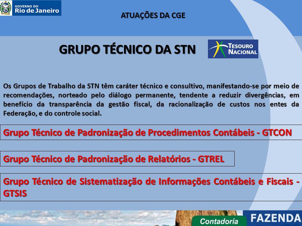 Grupo Técnico de Padronização de Procedimentos Contábeis - GTCON Grupo Técnico de Padronização de Relatórios - GTREL Os Grupos de Trabalho da STN têm