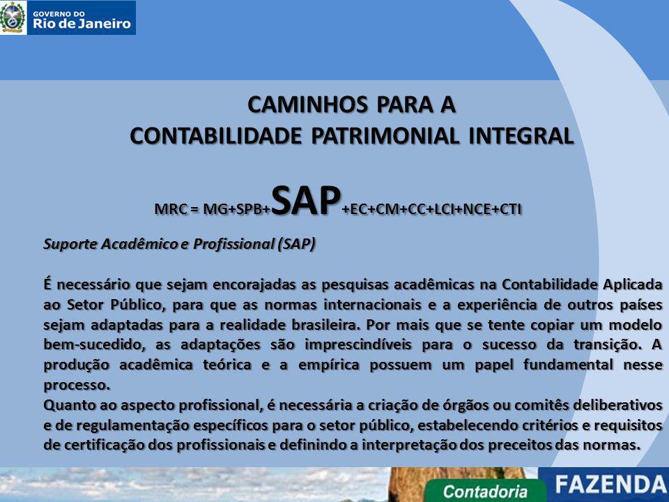 CAMINHOS PARA A CONTABILIDADE PATRIMONIAL INTEGRAL MRC = MG+SPB+ SAP +EC+CM+CC+LCI+NCE+CTI Suporte Acadêmico e Profissional (SAP) É necessário que sej