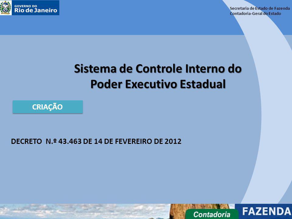 Secretaria de Estado de Fazenda Contadoria-Geral do Estado Sistema de Controle Interno do Poder Executivo Estadual CRIAÇÃO DECRETO N.º 43.463 DE 14 DE