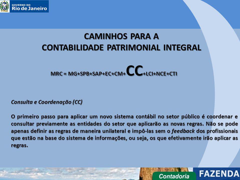 CAMINHOS PARA A CONTABILIDADE PATRIMONIAL INTEGRAL MRC = MG+SPB+SAP+EC+CM+ CC +LCI+NCE+CTI Consulta e Coordenação (CC) O primeiro passo para aplicar u