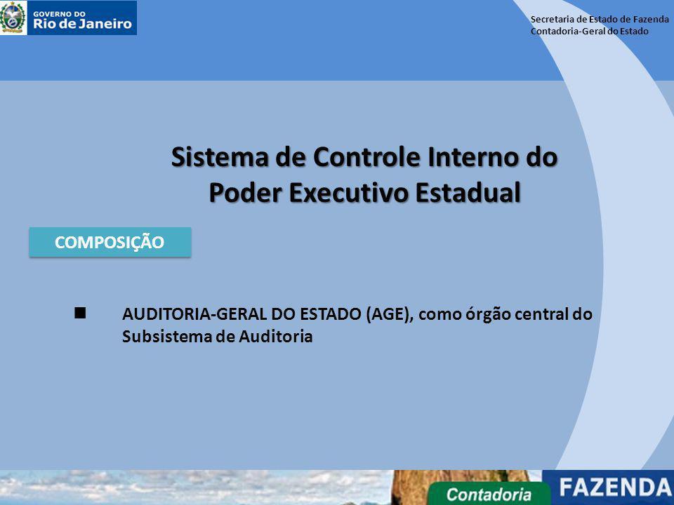 Secretaria de Estado de Fazenda Contadoria-Geral do Estado Sistema de Controle Interno do Poder Executivo Estadual COMPOSIÇÃO CONTADORIA-GERAL DO ESTADO (CGE), como órgão central do Subsistema de Contabilidade.