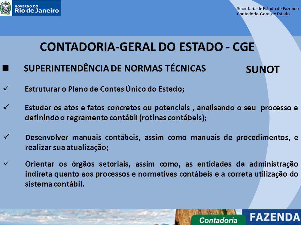 Secretaria de Estado de Fazenda Contadoria-Geral do Estado CONTADORIA-GERAL DO ESTADO - CGE SUPERINTENDÊNCIA DE NORMAS TÉCNICAS SUNOT Desenvolver manu