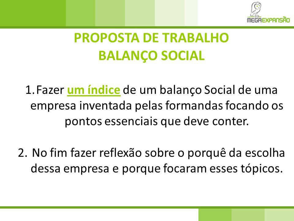 PROPOSTA DE TRABALHO BALANÇO SOCIAL 1.Fazer um índice de um balanço Social de uma empresa inventada pelas formandas focando os pontos essenciais que deve conter.