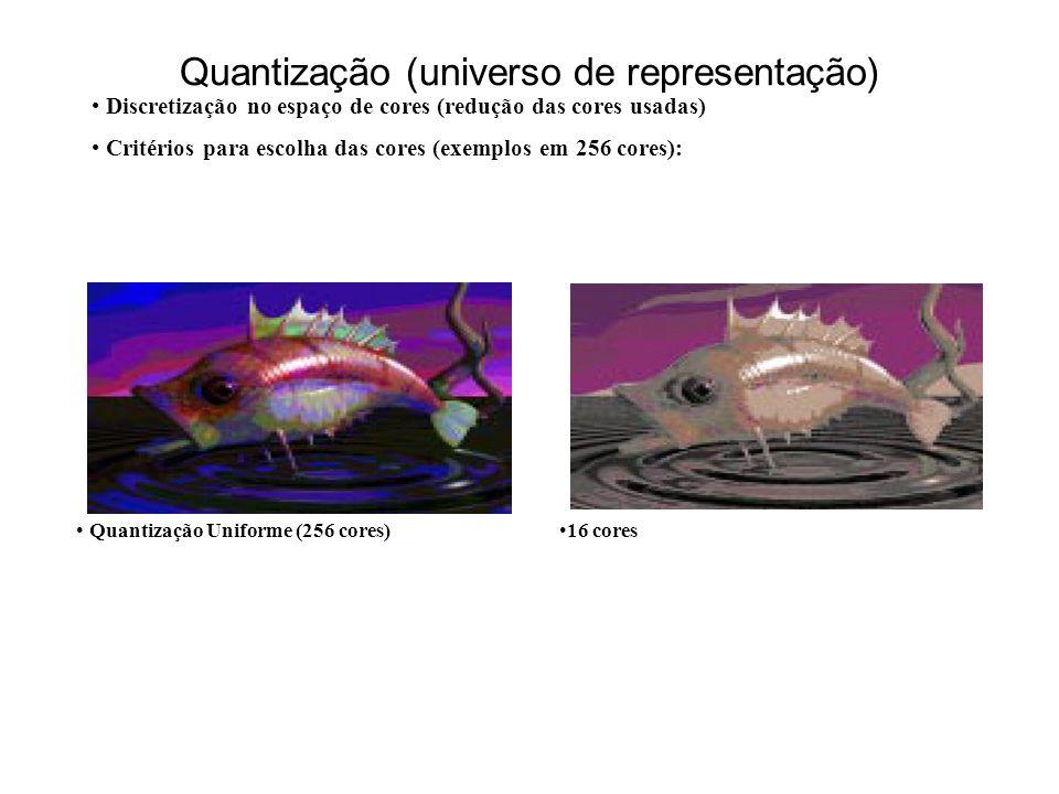 Quantização (universo de representação) Discretização no espaço de cores (redução das cores usadas) Critérios para escolha das cores (exemplos em 256 cores): Quantização Uniforme (256 cores)16 cores