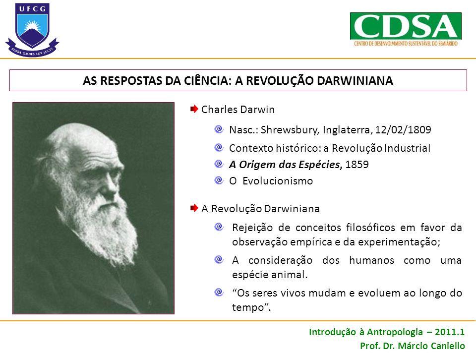 AS RESPOSTAS DA CIÊNCIA: A REVOLUÇÃO DARWINIANA Charles Darwin Nasc.: Shrewsbury, Inglaterra, 12/02/1809 Contexto histórico: a Revolução Industrial A